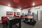 The hand painted artwork sets this game room apart