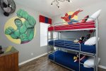 The kids bedroom features two twin beds