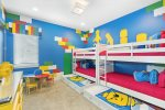 Second floor, kids bedroom with colorful theming.
