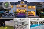 Reunion Castle   10 Bed Villa with Golf Simulator Room, 3rd Floor Bar, Kids Secret Playroom, Custom Private Pool and Spa