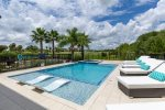 The custom built pool include a sun ledge  with 2 ledge loungers