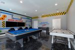Challenge your family members to a game of foosball, pool or air hockey