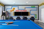 Everyone will want to hang out in this exciting game room with video games and arcade games