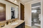 Full bathroom with a large vanity and walk-in shower