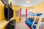 Fun kids bedroom with full/twin bunk beds