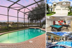 Waterfront Villa | Lakeside Home with Screened Pool & Spa, Games Room and Kids Bedrooms