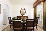 Formal dining area with seating for six