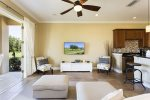 Luxury living room area with 55-Inch HD TV and a Bose stereo system