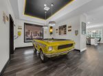 The pool table is an authentic Ford Mustang