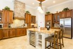 Granite kitchen with stainless steel appliances and wonderful stonework