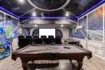 A sport bar movie area with a 120-inch projection screen and PlayStation 4 x2