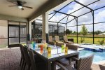 Enjoy outdoor dining on your covered patio.