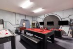 The pool table transforms into a ping pong table