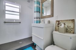 Newly Remodeled Bathroom Has Walk-In Shower