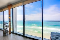 Floor to ceiling windows throughout this condo.