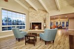 Gas fireplace with views of the mountains