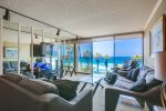 View of living room with ocean views.