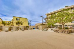 A lounge area near the pool