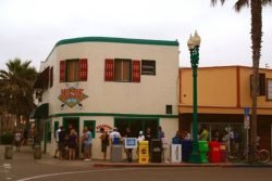 Steps to Konos, the local cafe