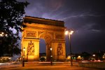 Fantastic lighting storm at the Arc de Triomphe taken by my husband