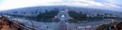 Panoramic view from top of Eiffel tower looking towards Le Defence.