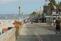 The Pacific Beach Boardwalk is not far away at all, only a 7 minute bike ride away