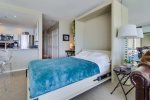 Double sized murphy bed folds down for a comfy night`s rest with a view of the sands