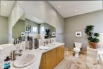 Master bathroom with dual his and her sinks.