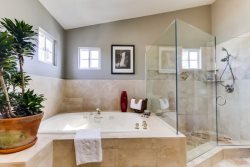 Master bathroom with large, jetted, soaking tub and separate shower.