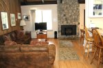 Mammoth Lakes Condo Rental Sunshine Village 132 - Upgraded Living Room with Woodstove