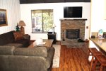 Mammoth Lakes Rental Sunshine Village 150 - upgraded living room with a flat screen TV and woodstove