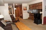 Mammoth Lakes Rental Sunshine Village 103 - Living Room Towards Kitchen