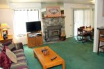 Mammoth Lakes Vacation Rental Sunshine Village 177  - Open Living Room towards Dining Room and Kitchen
