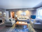 Mammoth Lakes Condo Rental Sunshine Village 157 -  Living Room has a Woodstove