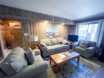 Mammoth Lakes Condo Rental Sunshine Village 157 -  Open Area Living Room with Flat Screen TV