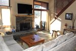 Mammoth Lakes Condo Rental Sunrise 9 - Living Room Slider to Outside Deck