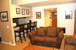 Mammoth Lakes Vacation Rental Sunshine Village 106 - Living Room Towards Kitchen