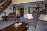 Mammoth Condo Rental Sunrise 1 - Open area Living Room towards the Entrance and the Stairs to the Loft