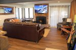 Mammoth Condo Rental Wildflower 41: Beautifully Remodeled Living Room With A Pellet Stove And Access To A Private Deck.
