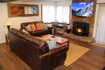 Mammoth Condo Rental Wildflower 41: Spacious Living Room With A 65 OLED Smart TV With Cable And Complimentary Netflix Streaming.