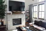 Large Flat Screen Smart TV, Gas Fire Place