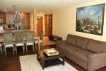 Mammoth Condo Rental Aspen Creek 117: Open floor plan Living Room, Dining Room and Kitchen