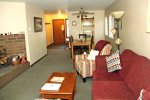 Mammoth Condo Rental Wildrose 9: Open floor plan, living room, dining room and kitchen