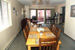 Mammoth Condo Rental Wildrose 9: View from the kitchen to the dining and living room