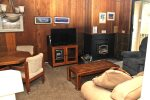 Mammoth Condo Rental Crestview 29:Cozy Living Room with a Flat Screen TV and Wood Burning Stove