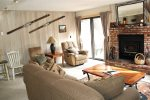 Mammoth Condo Rental Sunrirse 12 - Cozy Living Room with Outside Deck Access