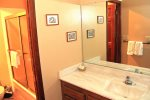 Mammoth Lakes Condo Rental Sunrise 15- Down Stairs Bathoom with Seperate Sink and Shower Areas