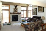 Mammoth Condo Rental Sunrise 29 - Cozy Living Room with Woodburning Stove