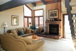 Mammoth Condo Rental Sunrise 35 - Living Room with Woodburning Fireplace