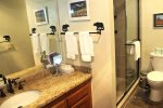 Mammoth Condo Rental Sunrise 43- Upgraded Downstairs Bathroom with a Seperate Sink and Shower Area